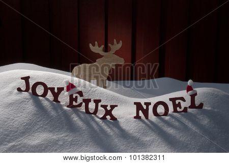 Joyeux Noel Means Merry Christmas On Snow Moose