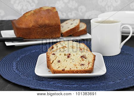 Cranberry Pound Cake, Slices And Whole One.