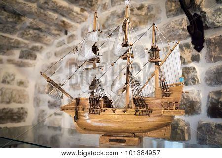 Budva, Montenegro - September 5, 2015: Wooden Replica Of The Old Famous Vessel