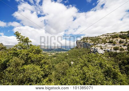 Scenic view of Ojo guarena Valley in Merindades Burgos Spain.
