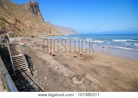 Some tourist are relaxing in Taganana beach on July 7 2015 in North Tenerife Canary islands Spain.