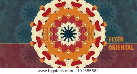 Orange Print Flayer template design. Abstract Retro Ornate Mandala Background for greeting card, Bro