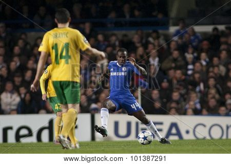 LONDON ENGLAND 23 NOVEMBER 2010. Chelsea's forward Gael Kakuta in action during the UEFA Champions League match between Chelsea FC and MSK Zilina, played at Stamford Bridge.