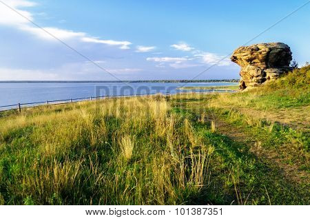 The Remains Of An Old Stone Sanctuary Near The Big Allaki Lake In Southern Urals