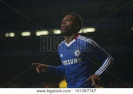 LONDON ENGLAND 23 NOVEMBER 2010. Chelsea's forward Daniel Sturridge celebrates scoring during the UEFA Champions League match between Chelsea FC and MSK Zilina, played at Stamford Bridge.