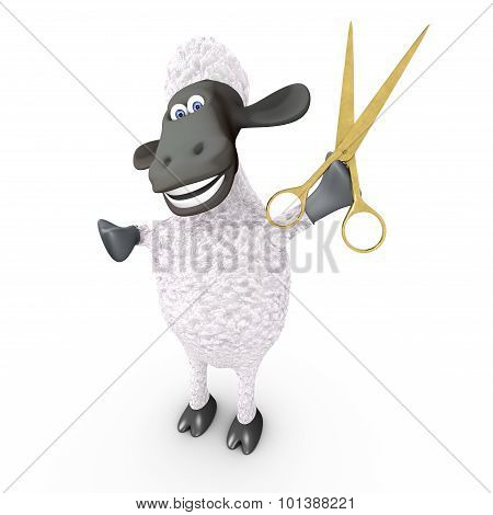 Funny sheep hairdresser