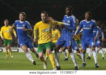 LONDON ENGLAND 23 NOVEMBER 2010. MSK Zilina's defender Guldan and Chelsea's midfielder Ramiresi try to get the best position during the UEFA Champions League match between Chelsea FC and MSK Zilina