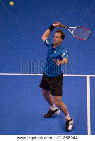 LONDON, ENGLAND. 06 DECEMBER 2009 -   Stefan Edberg (SWE) competing in the AEGON Masters Tennis, Royal Albert Hall, London.