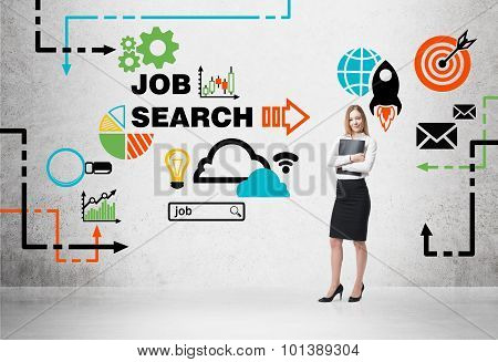 Beautiful Recruiter Agent With Black Folder Is Looking For New Candidates. Colourful Icon About Job