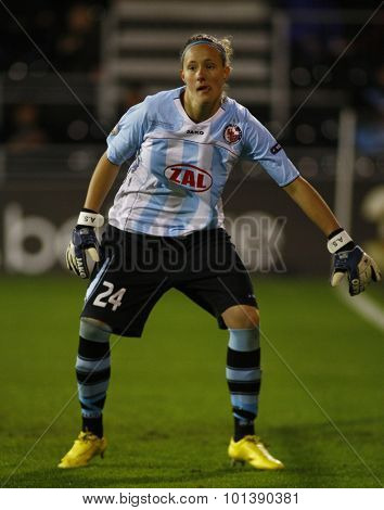 LONDON, ENGLAND. 26 MAY 2011 Potsdam's goalkeeper Anna Felicitas Sarholz during the 2011UEFA Women's Champions League final between FFC Turbine Potsdam and Olympique Lyonaise