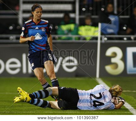 LONDON, ENGLAND. 26 MAY 2011 Lyon's forward Lotta Schelin and Potsdam's  Anna Felicitas Sarholz during the 2011UEFA Women's Champions League final between FFC Turbine Potsdam and Olympique Lyonaise