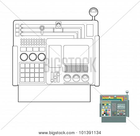 Control System. System Center Panel For  Production. Industrial Panel. Buttons And Screens And Senso