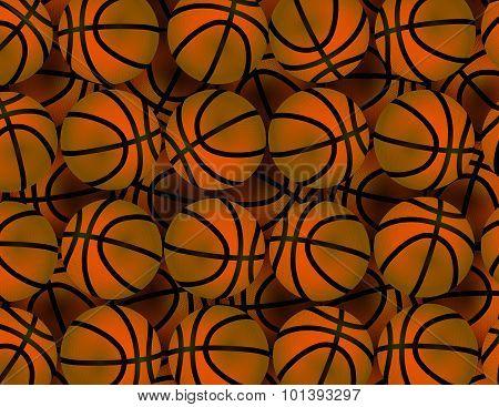 Background With Many Basketballs