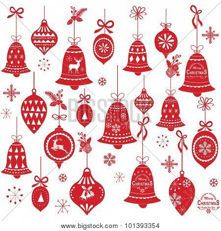 Retro Christmas Bell Design Elements