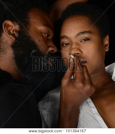 Striking Image of a Woman getting High from Weed and her dealer