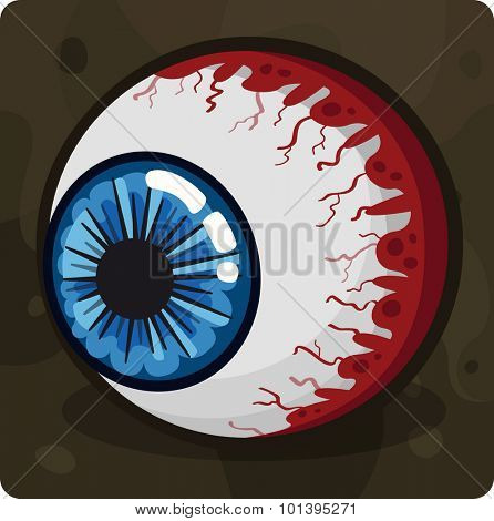 Blue zombie eye. Vector illustration