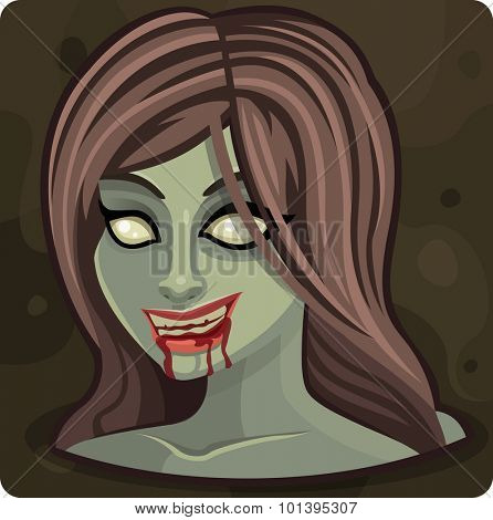 Smile zombie girl. Vector illustration
