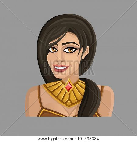 Cartoon woman in gold. Vector illustration