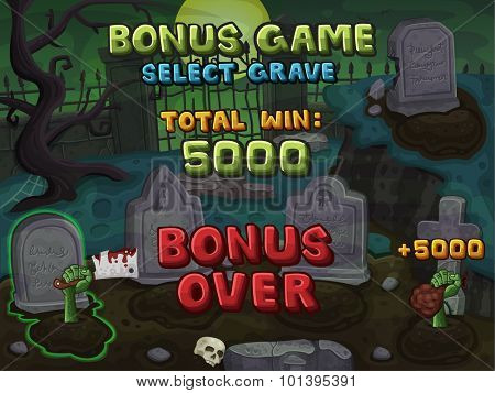 Bonus game for zombie slots game. Vector illustration