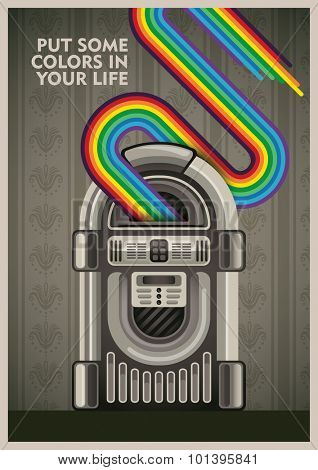 Conceptual poster with jukebox. Vector illustration.