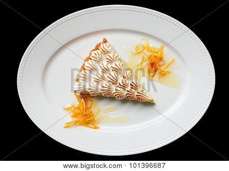 Meringue dessert isolated on black background
