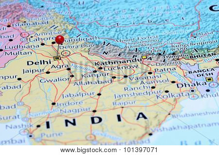 Delhi pinned on a map of Asia