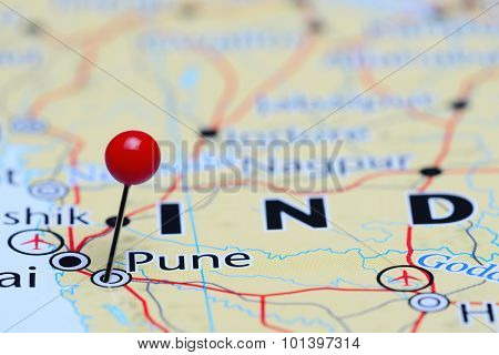 Pune pinned on a map of Asia
