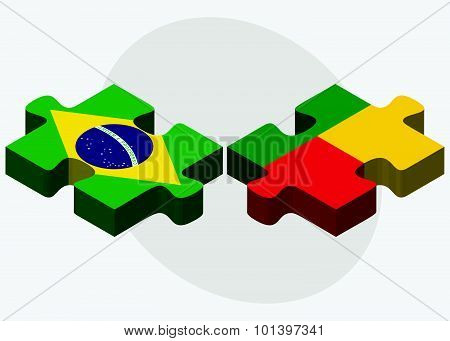 Brazil And Benin Flags