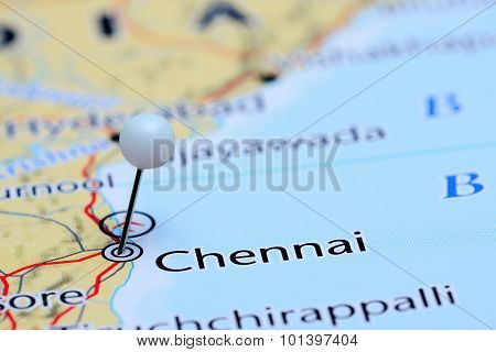 Chennai pinned on a map of Asia
