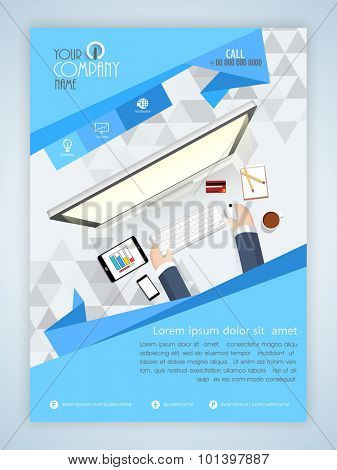 Creative template, banner or flyer design with illustration of working human hands and modern digital devices for business or corporate sector.