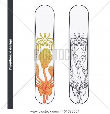 Snowboard Design Abstract Mushroom Three