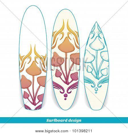 Surfboard Design Abstract Mushroom Four