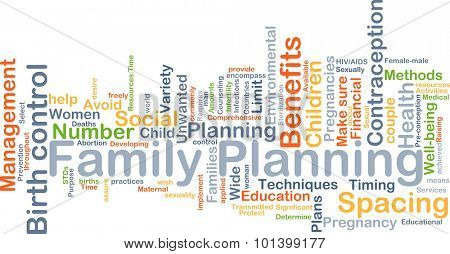 Background concept wordcloud illustration of family planning