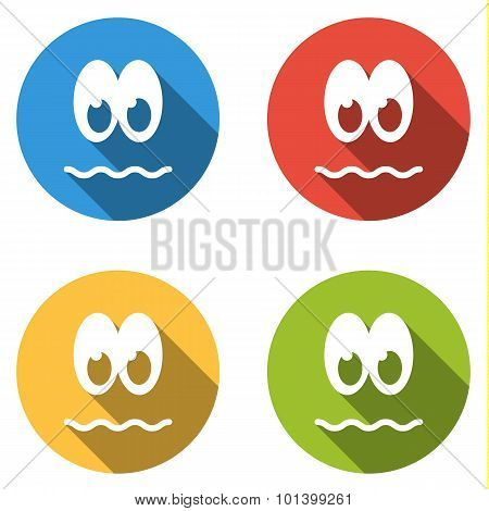 Collection Of 4 Isolated Flat Colorful Icon Emoticons - Peevish, Resentful, Unpleased