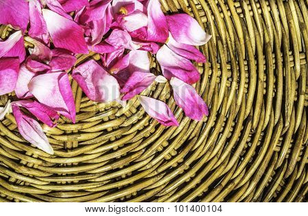 Pink Petal Rose On Wooden Woven Wicker