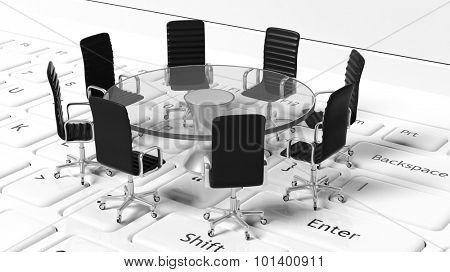 Idea of team's unity and way of work and communication. Leather chairs around round glass table on keyboard.