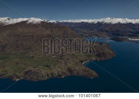 Aerial View of Mountains in Wanaka, New Zealand