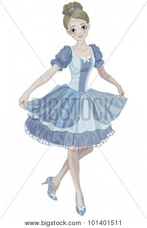 Illustration of Halloween Cinderella wearing crystal slippers