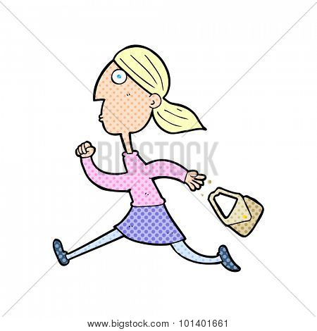 comic book style cartoon running woman stressed