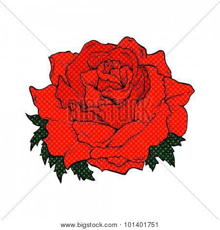 comic book style cartoon rose