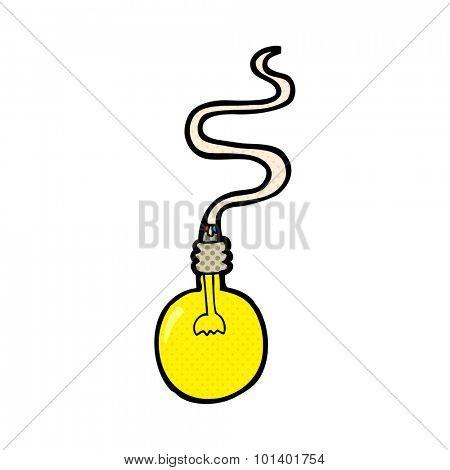 comic book style cartoon light bulb
