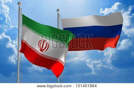 Iran and Russia flags flying together for diplomatic talks