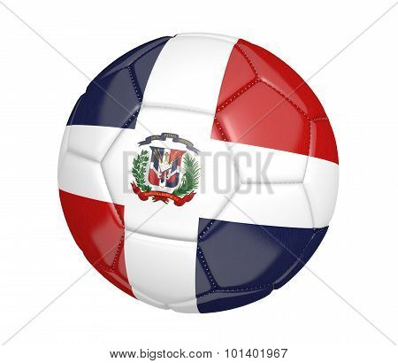Football, also called a soccer ball, with the national flag colors of the Dominican Republic