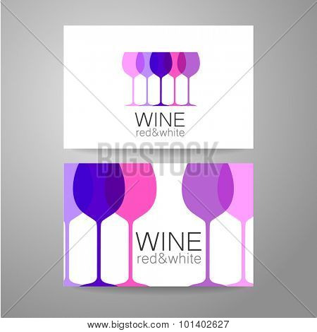 Wine - logo. Template Concept of corporate identity for the wine shop, bar, production. Business card.