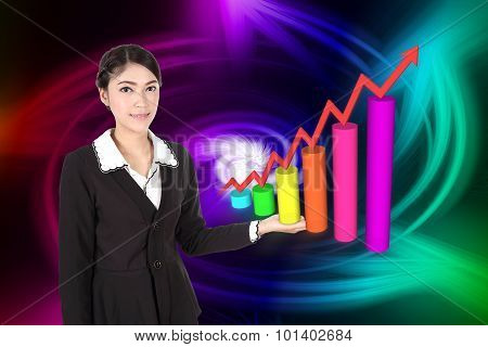 Business Woman With Business Graph