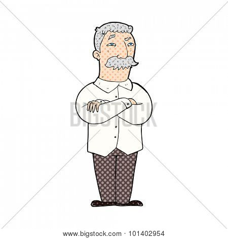 comic book style cartoon old man