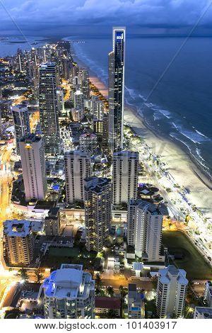 Coast City twilight skyline