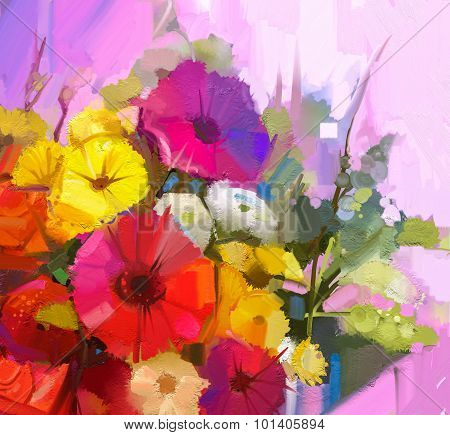 Still Life Of Yellow And Red Color Flowers .oil Painting Bouquet Of Rose,daisy And Gerbera Flower.
