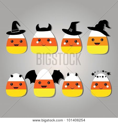 Candy Corn Clip Art Set.
