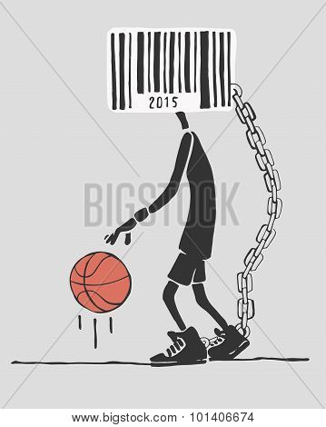 Basketball Player With Barcode Head